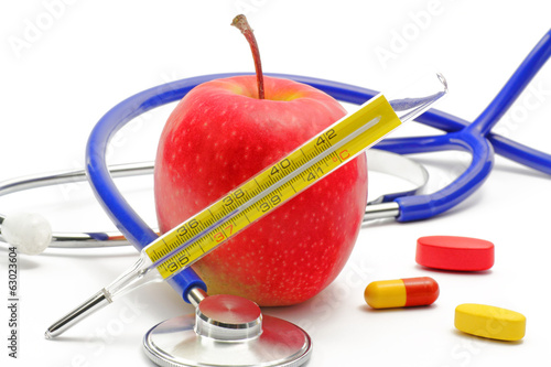 canvas print picture apfel mit stethoscope