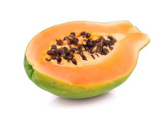 Ripe papaya on white