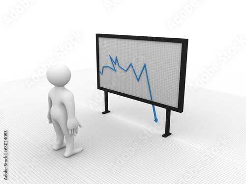 businessman with briefcase stand next signboard graph