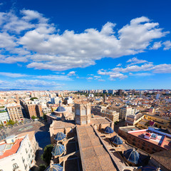 Valencia aerial skyline with Plaza de la virgen and Cathedral