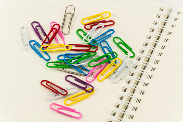 paper clips on note book