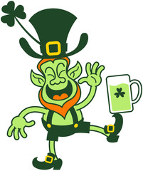 Green Leprechaun Balancing a Glass of Beer on his foot