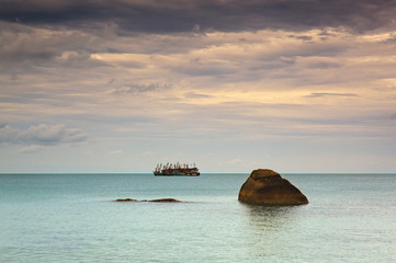 Fishing ships in Andaman sea Thailand