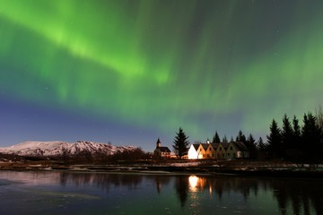 Northern lights at Thingvellir