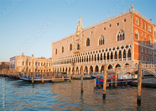 : Doge palace and and waterfront in morning