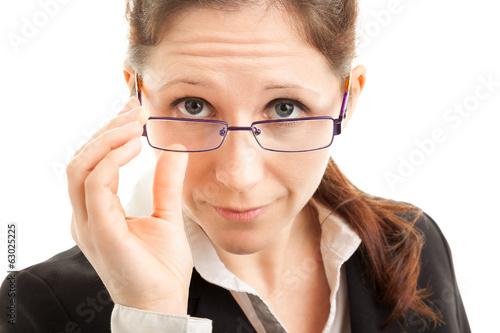canvas print picture Kritischer Blick einer Geschäftsfrau