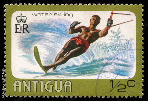 Stamp printed in Antigua shows water skiing, circa 1976