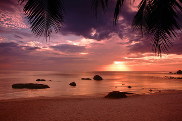 Sunset on the beach of Gulf of Thailand on the Koh Samui