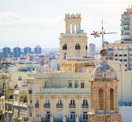 Valencia aerial skyline with Santa Catalina belfry tower
