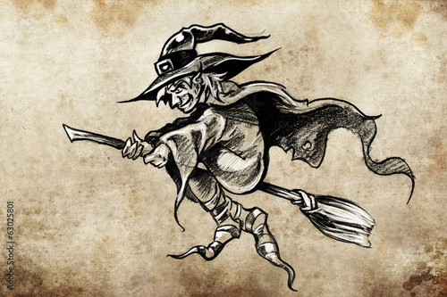 witch on a broom, Tattoo sketch, handmade design over vintage pa
