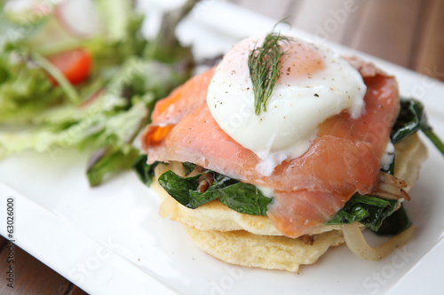 Gourmet smoked salmon with pancake