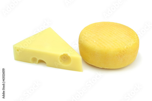 Emmental and kashar cheese on white background