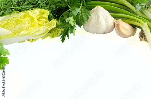 green vegetables isolated on white