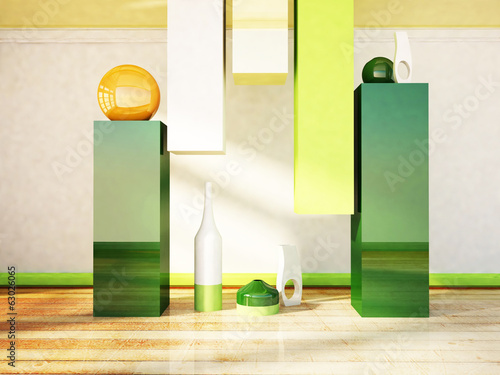 the vases on the table and a floor