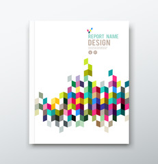 Cover annual report and brochure colorful geometric design