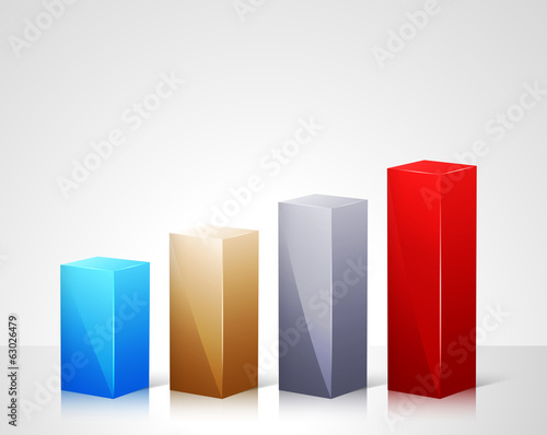 Infographic template with 3d bars