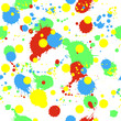Seamless pattern with colorful splashes, blobs and stains