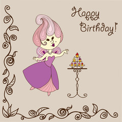 Vector  illustration cartoon fairy eats cake. Bithday card