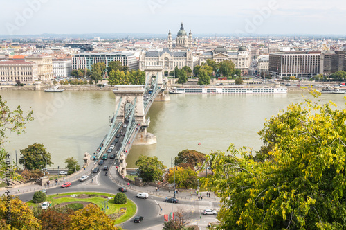 Up View of Chain Bridge - Hungary Budapest