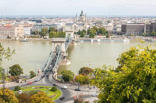 Up View of Chain Bridge - Hungary Budapest © taweepat