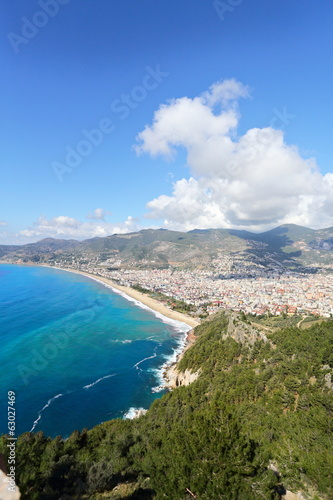 View of the Alanya and Cleopatra beach.Turkey.