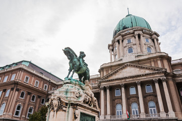 Buda Castle and the statue of Prince Eugene of Savoy
