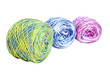 Three Balls of Bright Multi-Colored Crochet Cotton