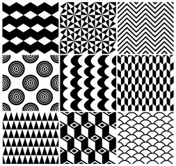 Black and White Vintage Seamless Geometric Backgrounds