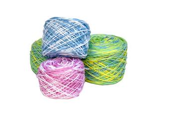 Four Rolls of Multi-Colored Crochet Cotton