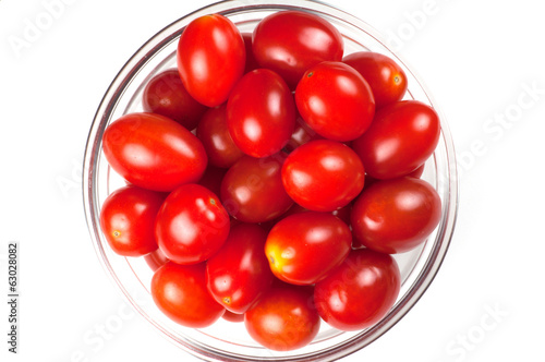 Top view of a bowl of cherry tomatos