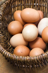 Organic, free-range eggs in vintage French basket