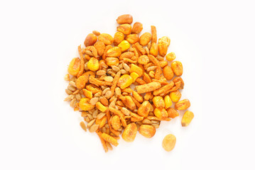 Spicy Trail Mix Over a White Background