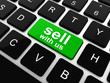 sell with us message on keyboard key,