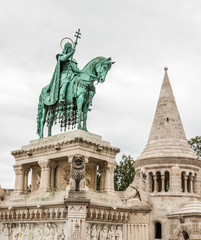 King Saint Stephen statue at Matthias Church, Budapest, Hungary