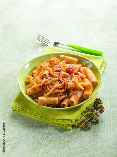 pasta with eggplants and pachino tomatoes