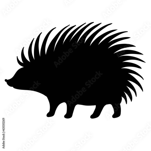 silhouette hedgehog on white background