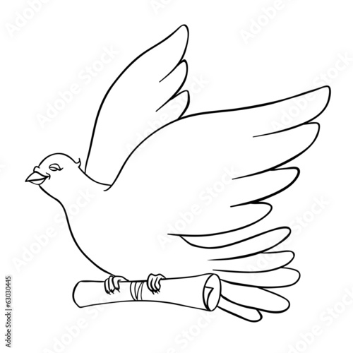 Post Bird, Mail pigeon, Vector illustration