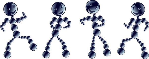 Robots danseurs bleus