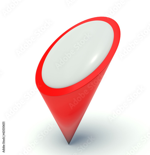Map pointer in red. 3d render