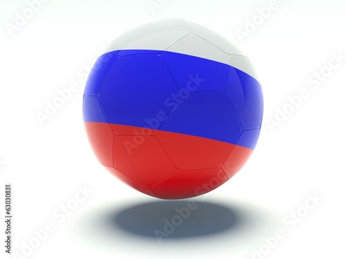 Soccer ball with russian flag colors.