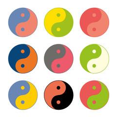 Yin yang symbols set