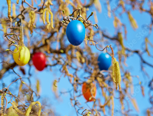 canvas print picture Easter Eggs in hazelnut bush