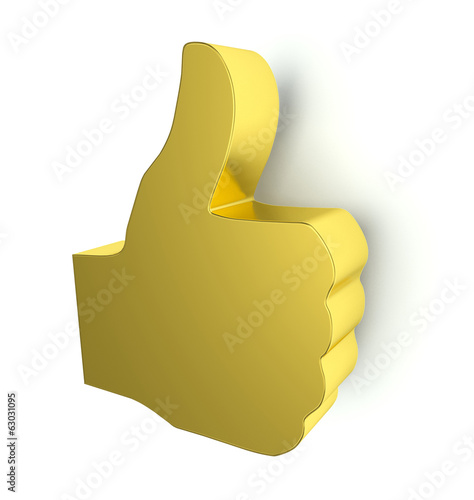 Golden thumbs up sign. 3d render.