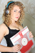 sexy woman with headphones and record