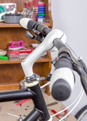 Custom fixie bike parts in a restoration process