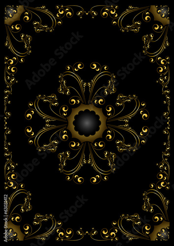 Gold frame with calligraphic ornament