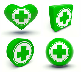 Set of first aid medical cross signs.
