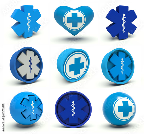 Set of first aid medical cross and Rod of Asclepius signs.