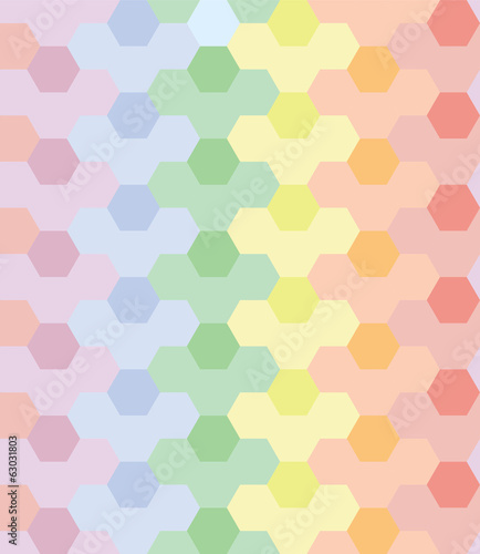 Vector  Seamless Pattern Repeat Rainbow Color Hexagon