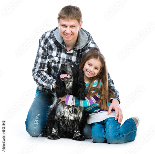 little girl and heer daddy  with cocker spaniel
